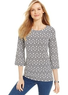 Charter Club Petite Textured Damask-Print Top, Only at Macy's