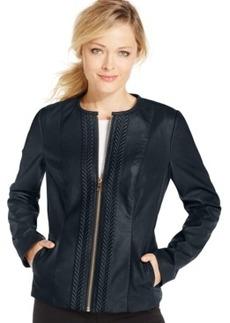 Charter Club Petite Textured-Trim Faux-Leather Jacket