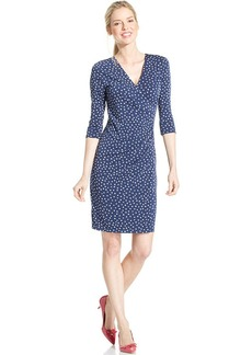 Charter Club Petite Three-Quarter Polka-Dot Faux-Wrap Dress
