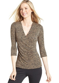 Charter Club Petite Three-Quarter-Sleeve Animal-Print Faux-Wrap