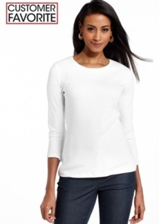 Charter Club Petite Three-Quarter Sleeve Crew-Neck Top