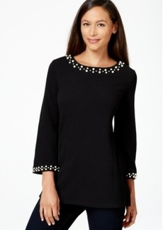 Charter Club Petite Three-Quarter-Sleeve Embellished Top, Only at Macy's