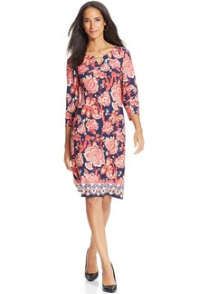 Charter Club Petite Three-Quarter-Sleeve Exotic-Print Dress