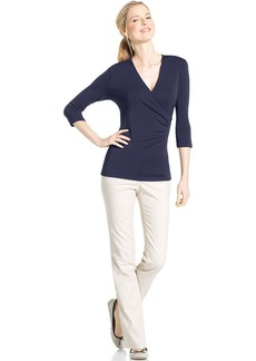 Charter Club Petite Three-Quarter-Sleeve Faux-Wrap Top