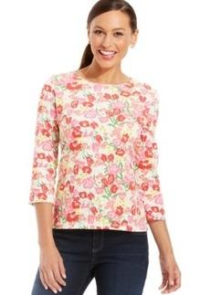 Charter Club Petite Three-Quarter Sleeve Floral Top