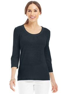 Charter Club Petite Three-Quarter-Sleeve Linen Tee