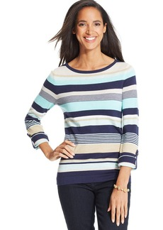 Charter Club Petite Three-Quarter-Sleeve Multi-Stripe Sweater