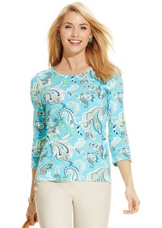 Charter Club Petite Three-Quarter-Sleeve Paisley-Print Pima Cotton Tee