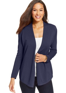 Charter Club Petite Three-Quarter-Sleeve Pointelle Open-Front Cardigan