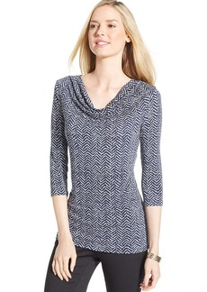 Charter Club Petite Three-Quarter-Sleeve Printed Cowl-Neck Top