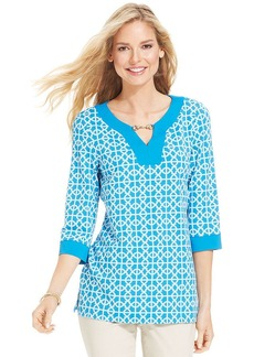 Charter Club Petite Three-Quarter-Sleeve Printed Keyhole Tunic