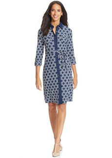 Charter Club Three-Quarter-Sleeve Printed Shirtdress