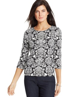 Charter Club Petite Three-Quarter-Sleeve Printed Top