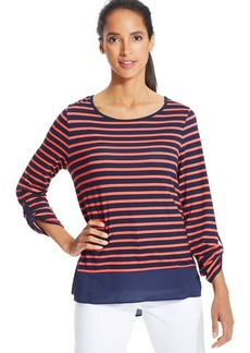 Charter Club Three-Quarter-Sleeve Striped Contrast-Hem Top