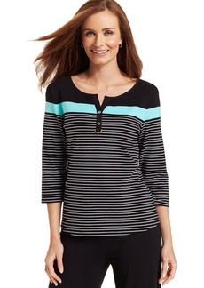 Charter Club Petite Three-Quarter-Sleeve Striped Henley Top