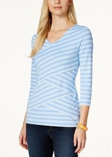 Charter Club Layered Stripe V-Neck Top, Only at Macy's