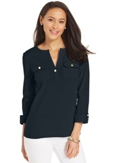 Charter Club Pima Cotton Henley Top, Only at Macy's