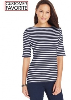 Charter Club Pima Elbow-Sleeve Striped Top