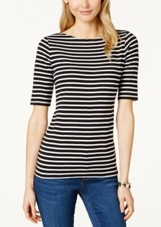 Charter Club Pima Elbow-Sleeve Striped Top, Only at Macy's