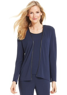 Charter Club Petite Pleather-Trim Open-Front Cardigan