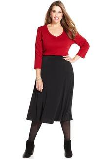 Charter Club Plus Size A-Line Midi Skirt