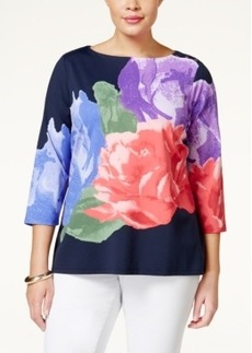 Charter Club Plus Size Bateau-Neck Floral-Print Top, Only at Macy's