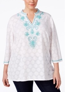 Charter Club Plus Size Beaded Dot-Print Tunic, Only at Macy's