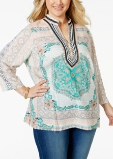 Charter Club Plus Size Beaded Scarf-Print Tunic Top, Only at Macy's