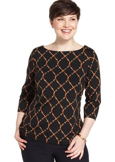 Charter Club Plus Size Belt-Print Top