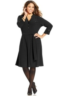 Charter Club Plus Size Belted A-Line Shirtdress