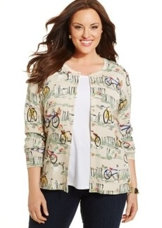 Charter Club Plus Size Bike Print Cardigan