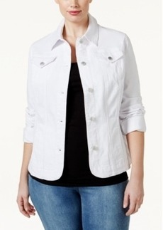 Charter Club Plus Size Bright White Wash Denim Jacket, Only at Macy's