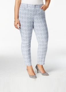 Charter Club Plus Size Brocade-Printed Cropped Skinny Jeans, Only at Macy's