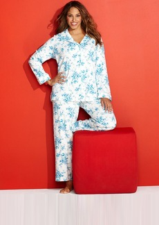 Charter Club Plus Size Brushed Knit Top and Pajama Pants Set