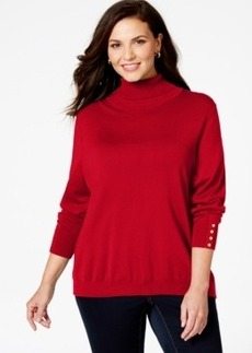 Charter Club Plus Size Button-Cuff Turtleneck Sweater, Only at Macy's