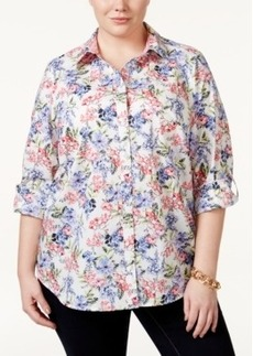 Charter Club Plus Size Button-Front Floral-Print Shirt, Only at Macy's