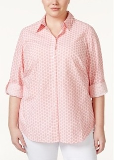Charter Club Plus Size Button-Front Printed Shirt, Only at Macy's