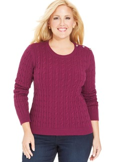 Charter Club Plus Size Cable-Knit Crew-Neck Sweater