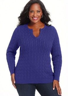 Charter Club Plus Size Cable-Knit Split-Neck Sweater