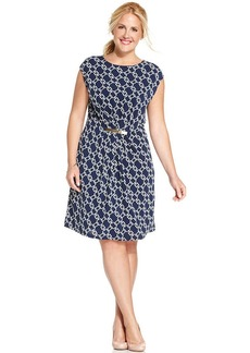Charter Club Plus Size Cap-Sleeve Chain-Print Shift Dress