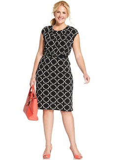Charter Club Plus Size Cap-Sleeve Icon-Print Dress