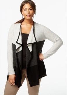 Charter Club Plus Size Cashmere Colorblocked Cardigan