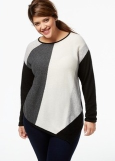 Charter Club Plus Size Cashmere Colorblocked Sweater