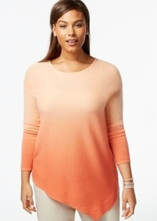 Charter Club Plus Size Cashmere Dip-Dyed Sweater