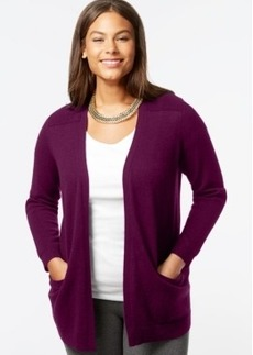 Charter Club Plus Size Cashmere Open-Front Cardigan