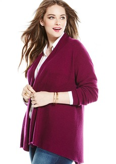 Charter Club Plus Size Cashmere Ribbed Open-Front Cardigan