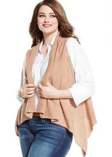 Charter Club Plus Size Cashmere Sleeveless Draped Cardigan