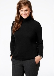 Charter Club Plus Size Cashmere Turtleneck Sweater In 5 Colors, Only at Macy's