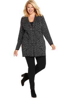 Charter Club Plus Size Cheetah-Print Duster Cardigan