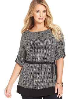 Charter Club Plus Size Chevron-Print Belted Tunic